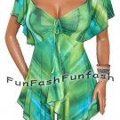 ZF2 FUNFASH EMERALD GREEN EMPIRE WAIST TOP SHIRT CLOTHING NEW Plus Size 1X 18 20