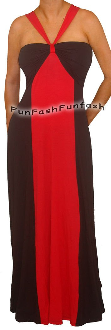 TC2 FUNFASH NEW RED BLACK COLOR BLOCK HALTER LONG MAXI PLUS SIZE DRESS 1X 18 20