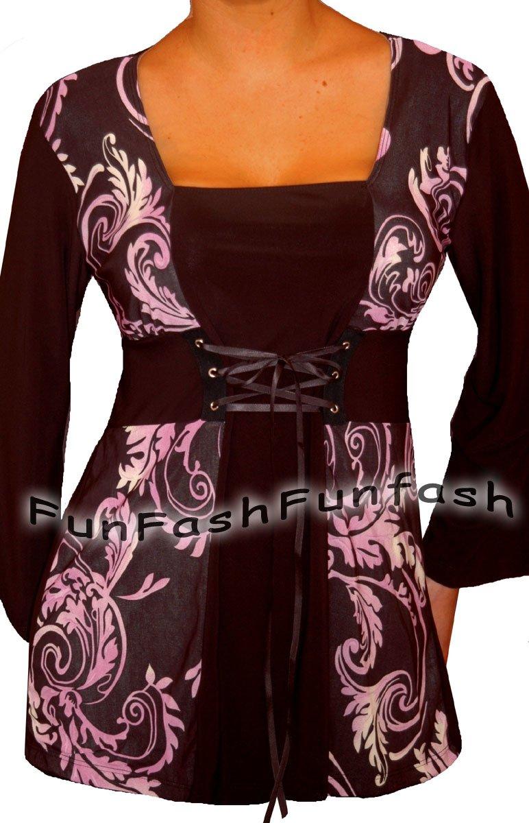 PH1 FUNFASH PLUS SIZE CORSET STYLE BLACK PURPLE WOMENS TOP SHIRT BLOUSE XL 1X 16