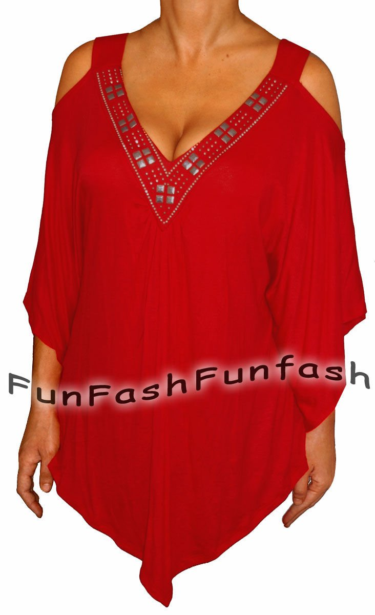 YC2 FUNFASH APPLE RED ANGEL SLEEVES TOP SHIRT BLOUSE CLOTHING Plus Size 1X 18 20