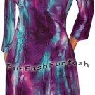TN1 FUNFASH PLUS SIZE DRESS PURPLE WRAP DRESS SLIMMING COCKTAIL DRESS 1X XL 16