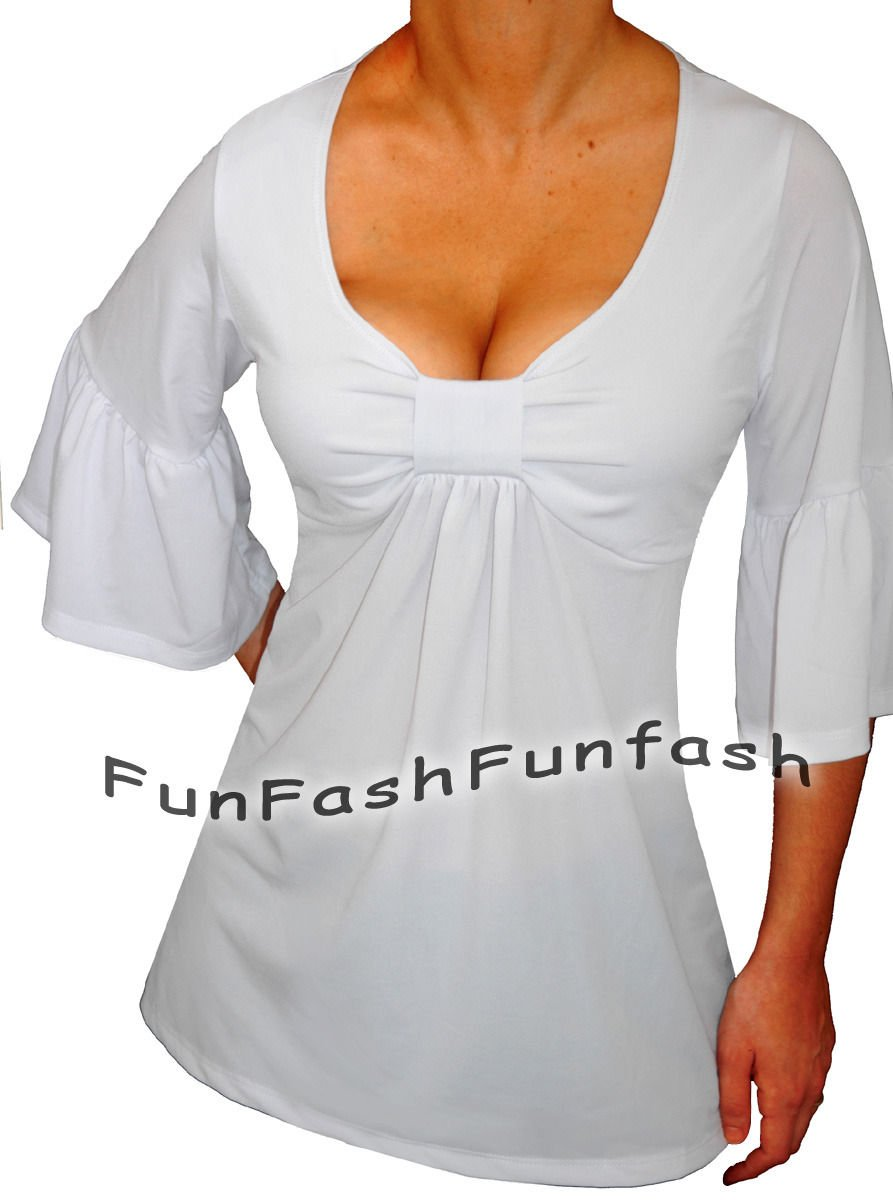 OC1 FUNFASH NEW WHITE TOP EMPIRE WAIST BELL SLEEVES PLUS SIZE TOP SHIRT 1X XL 16