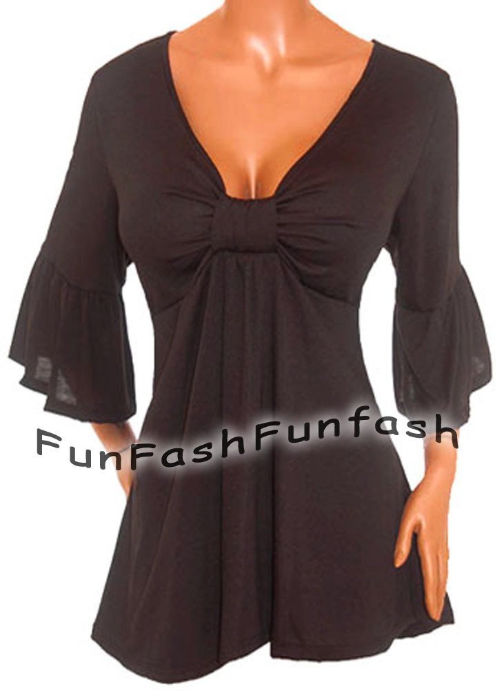NN1 FUNFASH PLUS SIZE EMPIRE WAIST SLIMMING BLACK PLUS SIZE TOP SHIRT 1X XL 16