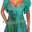 RW2 FUNFASH PLUS SIZE JADE GREEN PEACOCK EMPIRE WAIST WOMENS TOP SHIRT 1X 18 20