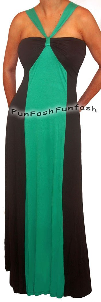 KT1 FUNFASH GREEN BLACK COLOR BLOCK HALTER LONG MAXI PLUS SIZE DRESS 1X XL 16