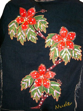 SeXy Beaded Holiday Blue Denim Jacket  Size XS 0 1