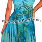 QN9 FUNFASH BLUE FLORAL SLIMMING EMPIRE WAIST COCKTAIL DRESS NEW Size LARGE 9 11