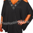 PS9 FUNFASH BLACK BEADS ANGEL SLEEVES WOMENS TOP SHIRT BLOUSE Size Large 9 11