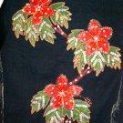 Beads Holiday Blue Frayed FunFash Denim Crop Bolero Jacket Size M Medium 3 5