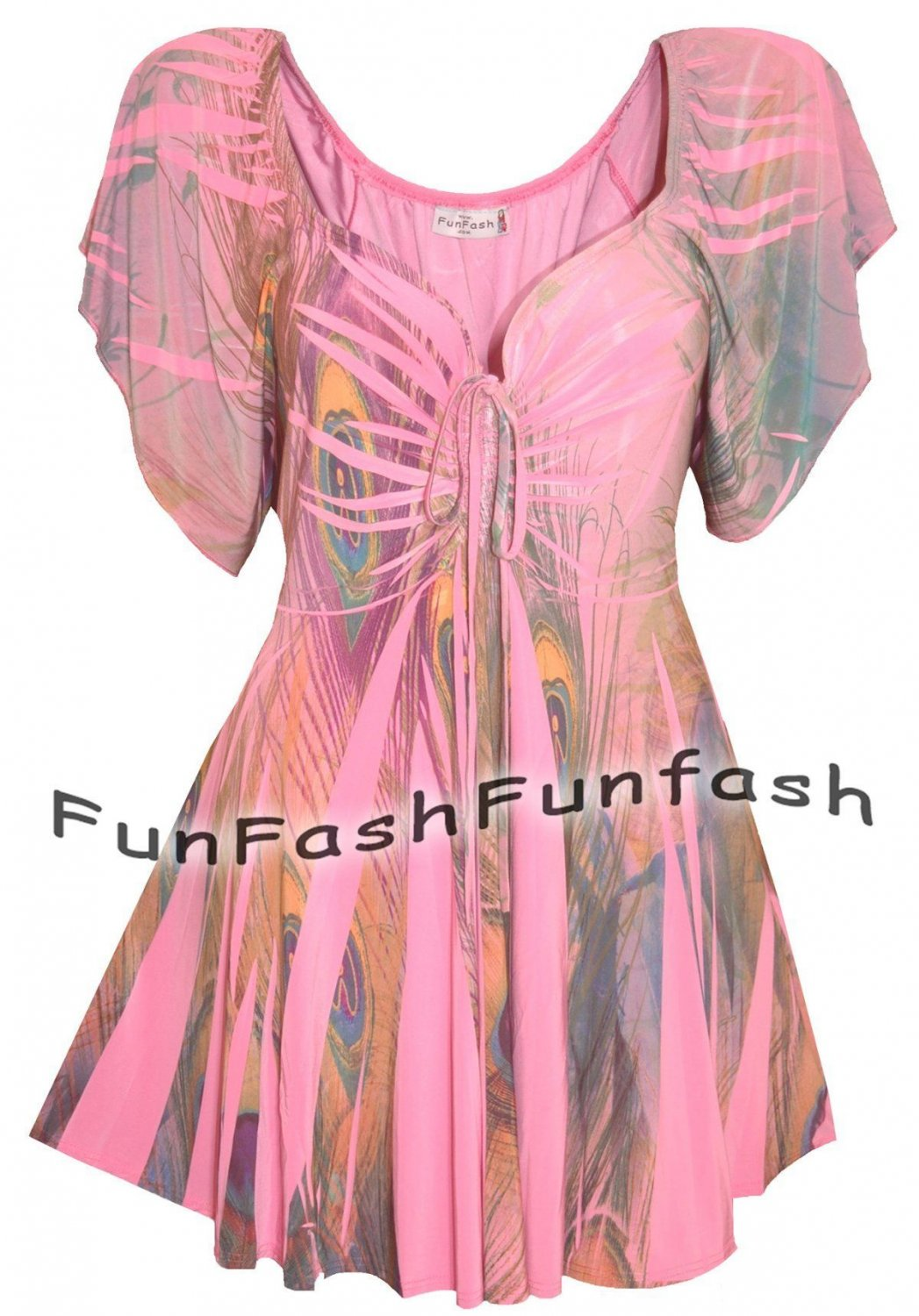 HE9 FUNFASH WOMENS TOP PINK PEACOCK EMPIRE WAIST SHIRT BLOUSE Size LARGE 9 11