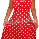 LR9 FUNFASH RED WHITE POLKA DOTS ROCKABILLY DRESS HALTER DRESS Size LARGE 9 11