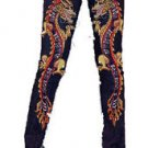 ZV1 FUNFASH SKINNY MARIGOLD BEADED DRAGON DENIM PANTS JEANS Plus Size XL 1X 16