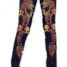 ZV1 FUNFASH SKINNY MARIGOLD BEADED DRAGON DENIM PANTS JEANS Plus Size XL 1X 16