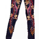 ZK7 FUNFASH SKINNY STRETCHY PINK PAINTED BEADED DRAGON DENIM PANTS JEANS SMALL