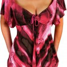 VP3 FUNFASH PINK BLACK SLIMMING EMPIRE WAIST PLUS SIZE TOP SHIRT BLOUSE 2X 22 24