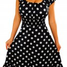 GM3 FUNFASH PLUS SIZE DRESS NEW BLACK WHITE POLKA DOTS ROCKABILLY DRESS 2X 22 24