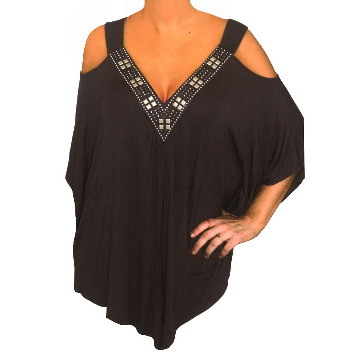 PS3 FUNFASH PLUS SIZE BLACK BEADS ANGEL SLEEVES PLUS SIZE TOP SHIRT NEW 2X 22 24