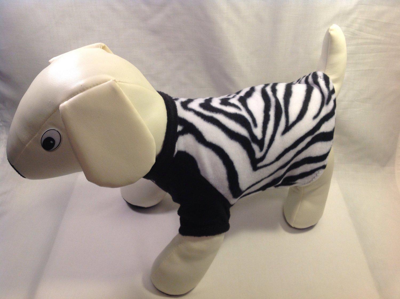 dog shirt X SMALL black white zebra dog shirts fleece sweater sweatshirt puppy
