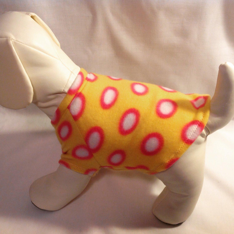 dog shirt X SMALL yellow with dots dog shirts fleece sweater sweatshirt puppy