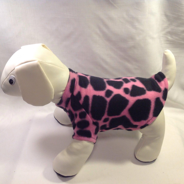 dog shirt X SMALL pink and black giraffe dog shirts fleece sweater sweatshirt puppy