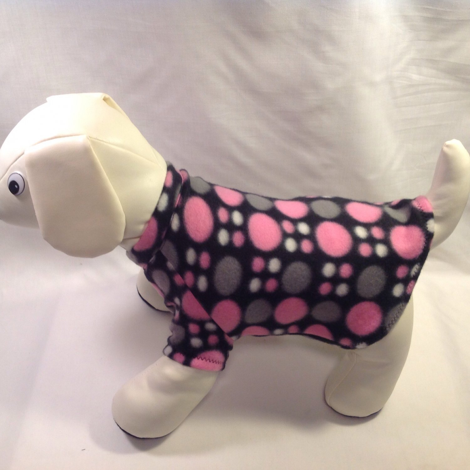 dog shirt X SMALL black with pink and gray dots dog shirts fleece sweater sweatshirt puppy