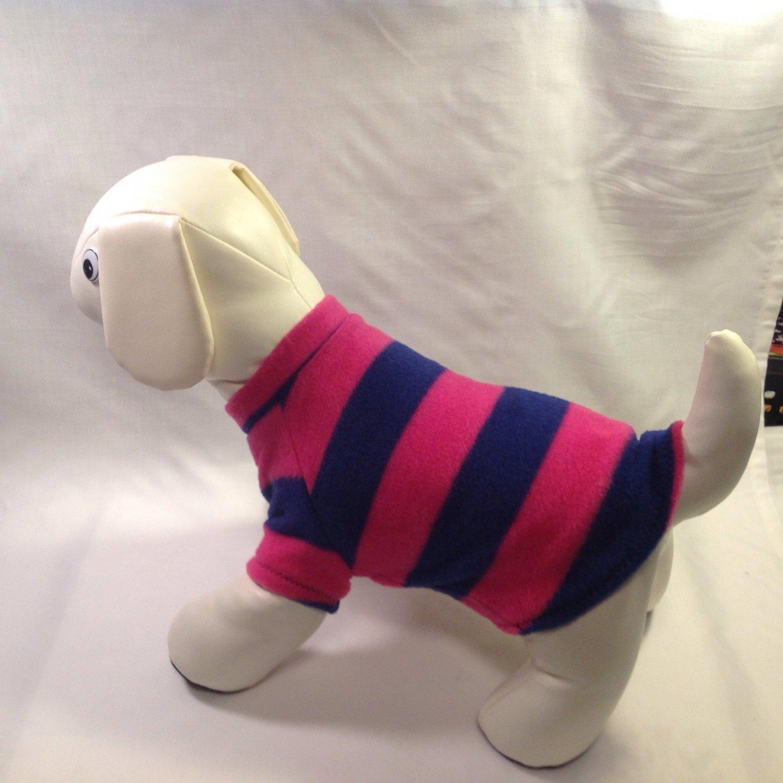 dog shirt X SMALL pink and navy striped dog shirts fleece sweater sweatshirt puppy