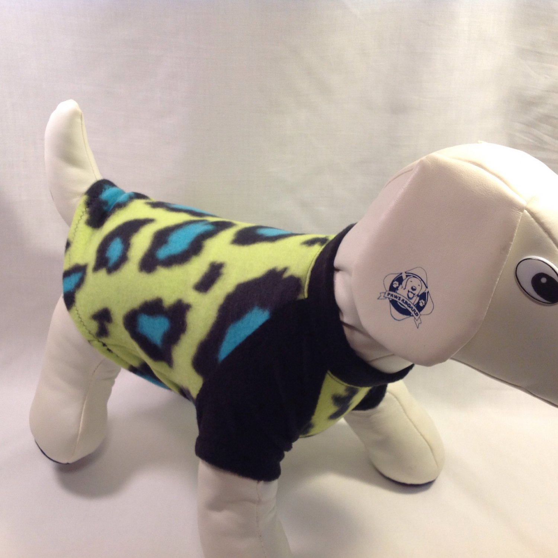 dog shirt SMALL cheetah black blue dog shirts fleece sweater sweatshirt puppy