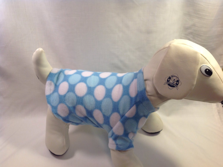 dog shirt SMALL blue dots dog shirts fleece sweater sweatshirt puppy