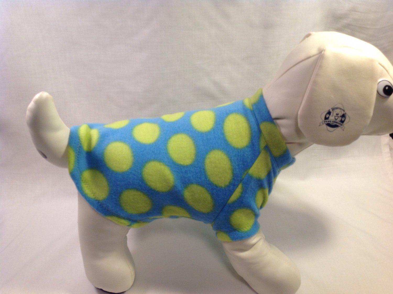 dog shirt SMALL blue lime dots dog shirts fleece sweater sweatshirt puppy