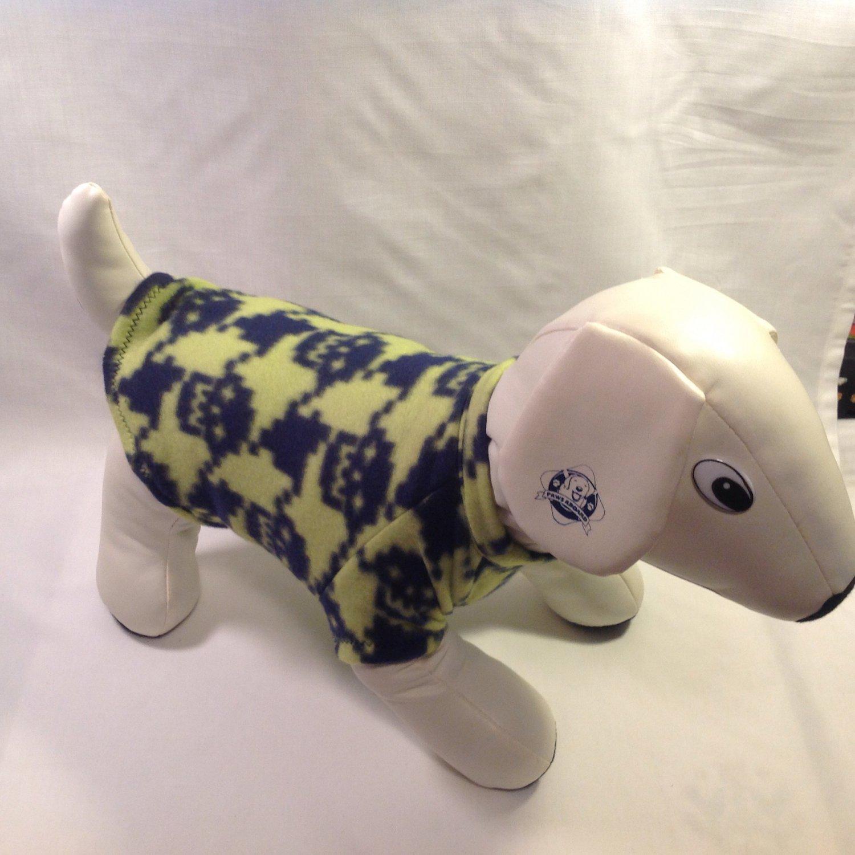 dog shirt SMALL lime with navy skulls dog shirts fleece sweater sweatshirt puppy