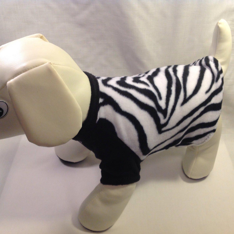 dog shirt MEDIUM black white zebra dog shirts fleece sweater sweatshirt puppy