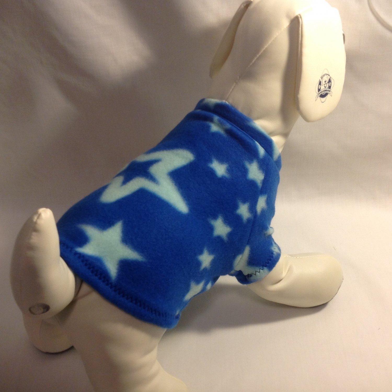 dog shirt MEDIUM blue with stars dog shirts fleece sweater sweatshirt puppy