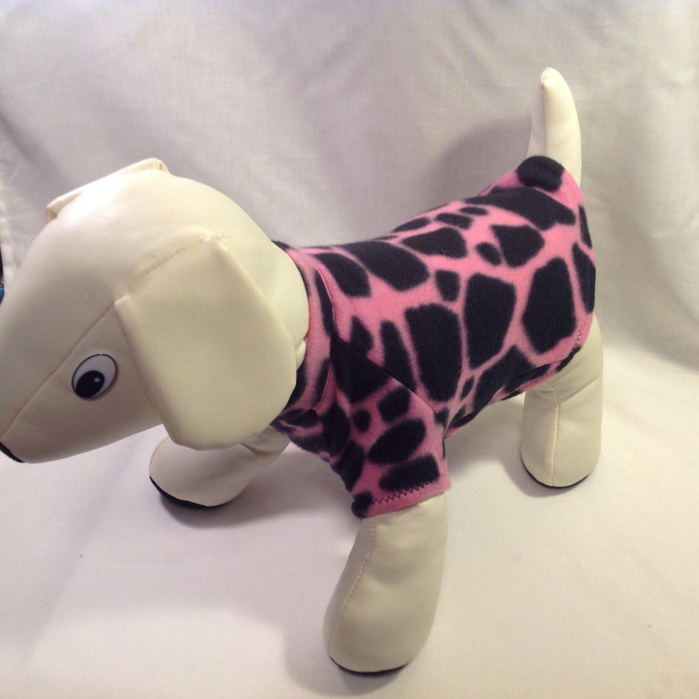 dog shirt MEDIUM pink and black giraffe dog shirts fleece sweater sweatshirt puppy