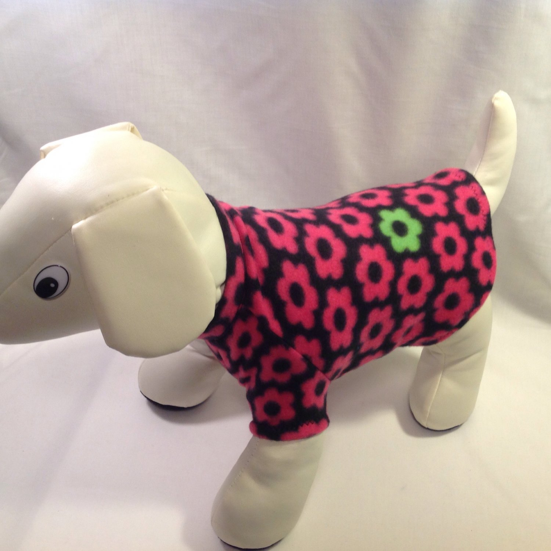 dog shirt MEDIUM black with pink daisies dog shirts fleece sweater sweatshirt puppy