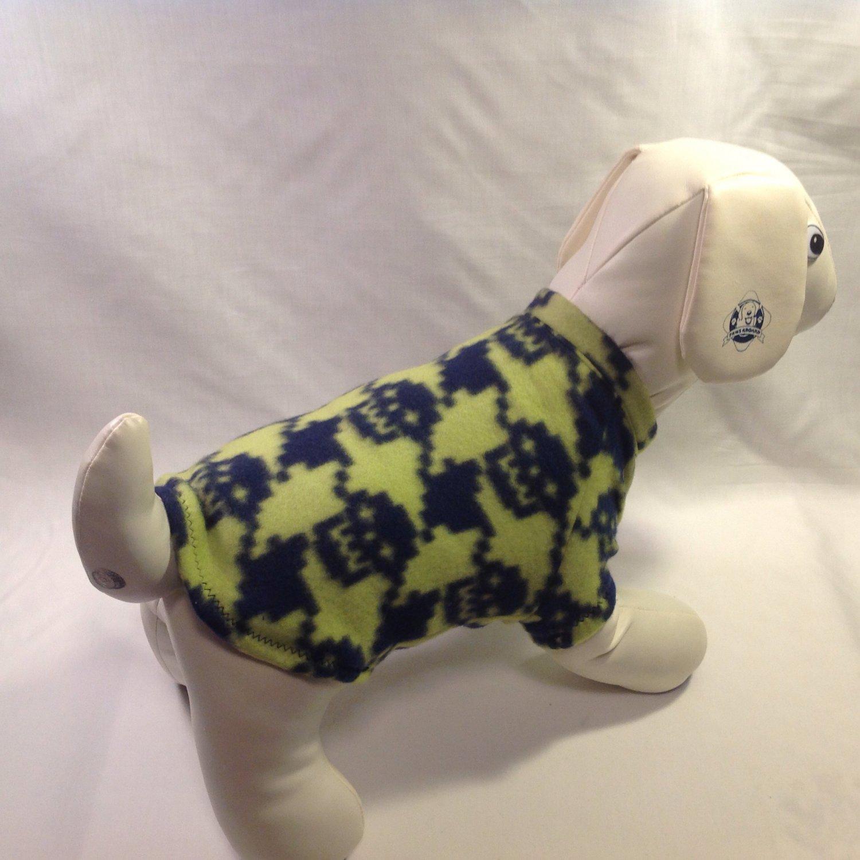 dog shirt MEDIUM lime with navy skulls dog shirts fleece sweater sweatshirt puppy