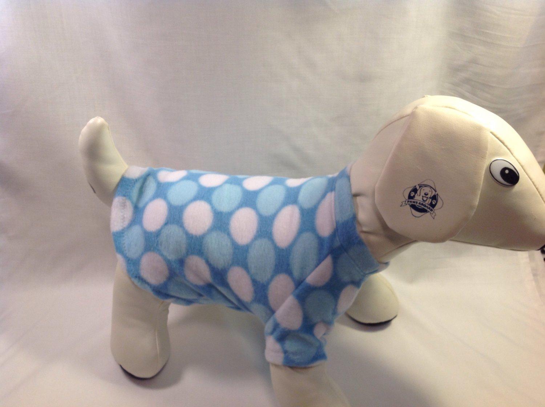 dog shirt LARGE blue dots dog shirts fleece sweater sweatshirt puppy