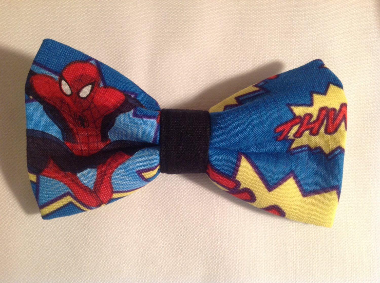 Bow tie men spiderman clip on cotton pretied superhero