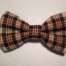 Bow tie men plaid cotton brown pretied bowtie present gift fathers day