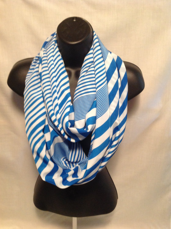 infinity scarf women blue striped shawl scarves nautical