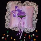 Lavender Satin Rose Ring Pillow