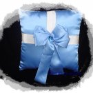 Blue Satin Package Bow Ring Pillow