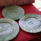 3 Pcs VINTAGE BORDALLO PINHEIRO GREEN  PLATES,Sheep,Cow & Chickens PORTUGAL