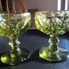 Vintage 2 pcs Green Glass Ice Cream/ Dessert Serving Dishes. PARFAIT THUMBPRINT