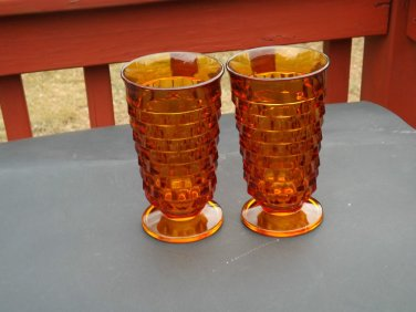 2 Vintage dark amber Fostoria American footed 12 ounce glasses tumblers tea