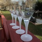 "MIKASA 4 Wine Goblets Glasses FROSTED STEM & FOOT- SWIRL STEMS 7"" TALL ELEGANT!!"