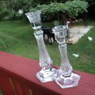 CUT Crystal clear Hexagon Criss Cross Diamond Candlesticks/ Holders TAPER 2pcs