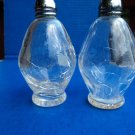 "PAIR Irice Rare Vintage Crackle Glass CRYSTAL CLEAR Salt, Pepper Shakers 4"" TALL"