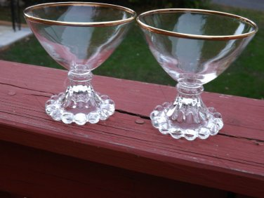 VINTAGE ANCHOR HOCKING GLASS BOOPIE BERWICK BUBBLE GOLD RIMMED CHAMPAGNE SHERBET