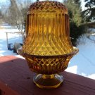 Vintage DIAMOND CUT Fairy Lamp Diamond Cut Viking Amber GLASS