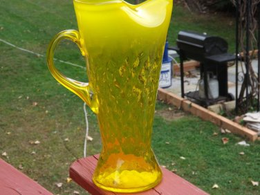 "RETRO HAND BLOWN OPALESCENT CANARY YELLOW GLASS WATER PITCHER JUG 64ozs, 12"" T"